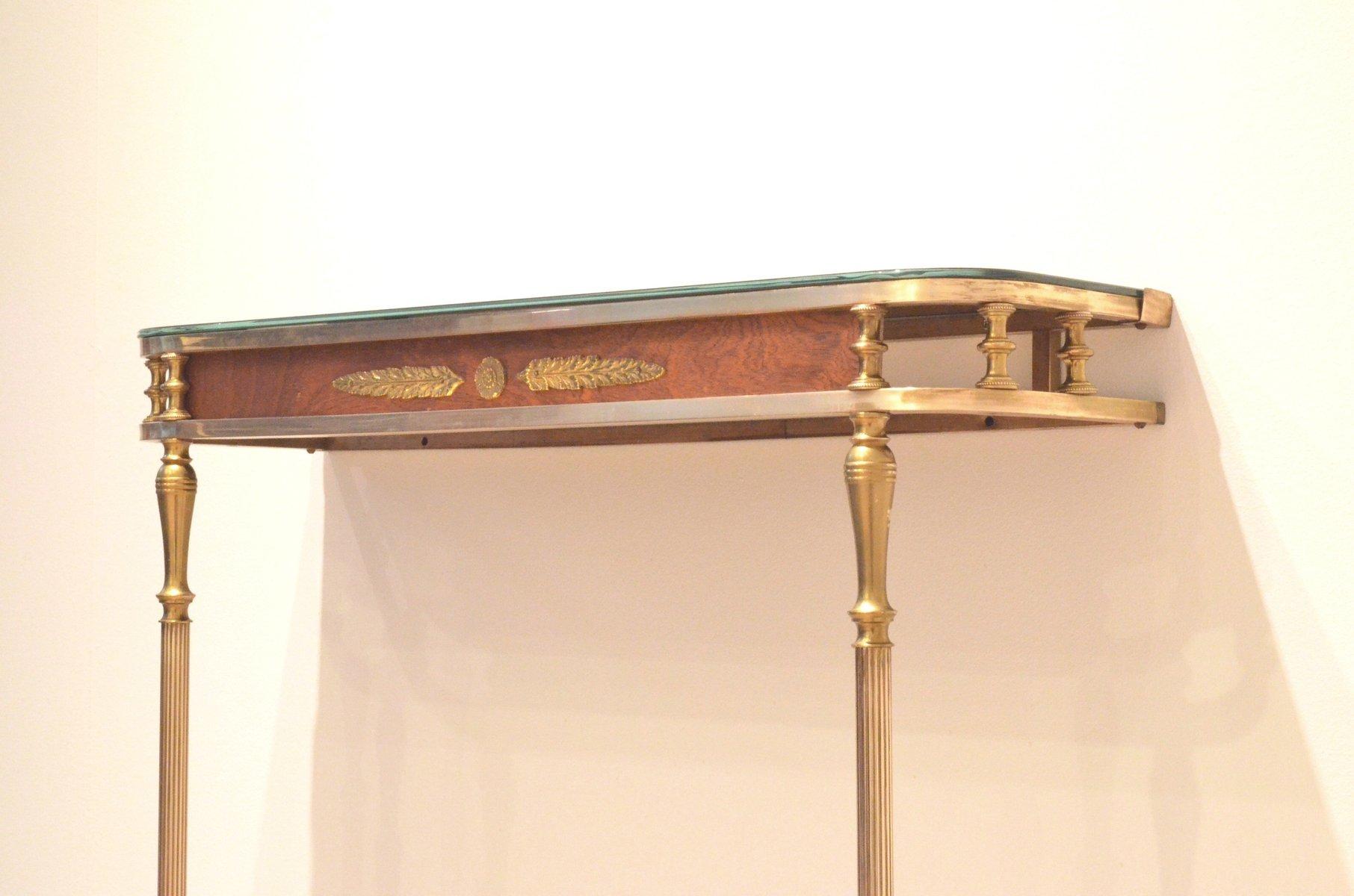 console d 39 entr e mid century n oclassique en laiton et en acajou en vente sur pamono. Black Bedroom Furniture Sets. Home Design Ideas