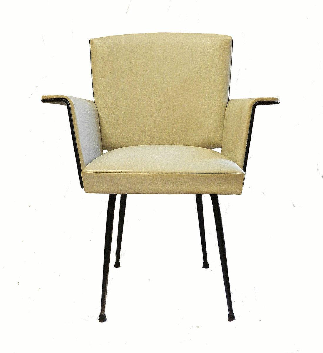 Mid century french cream skai iron armchair for sale at for Cream armchair