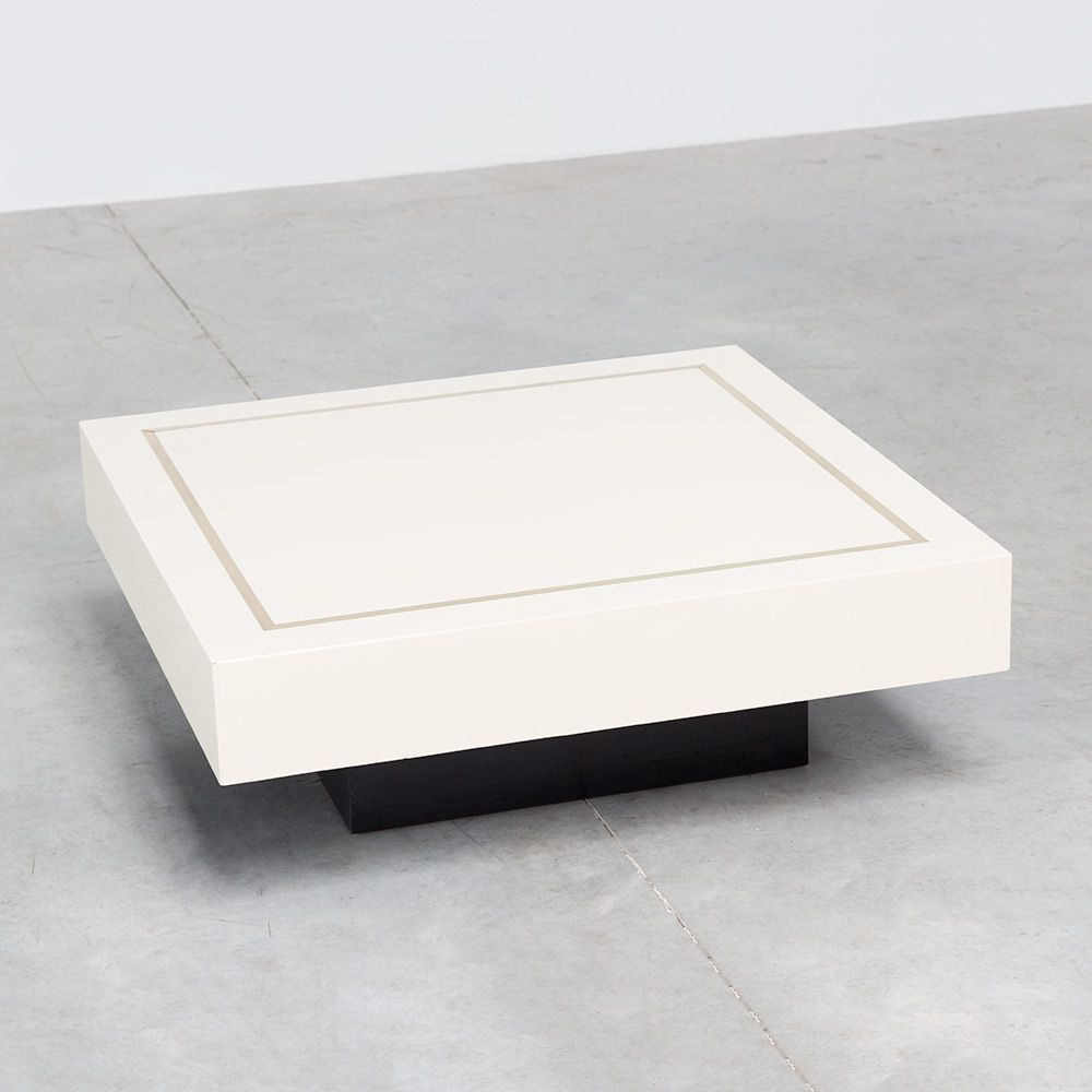 cream colored coffee table with brass inlay 1970s for sale at pamono. Black Bedroom Furniture Sets. Home Design Ideas