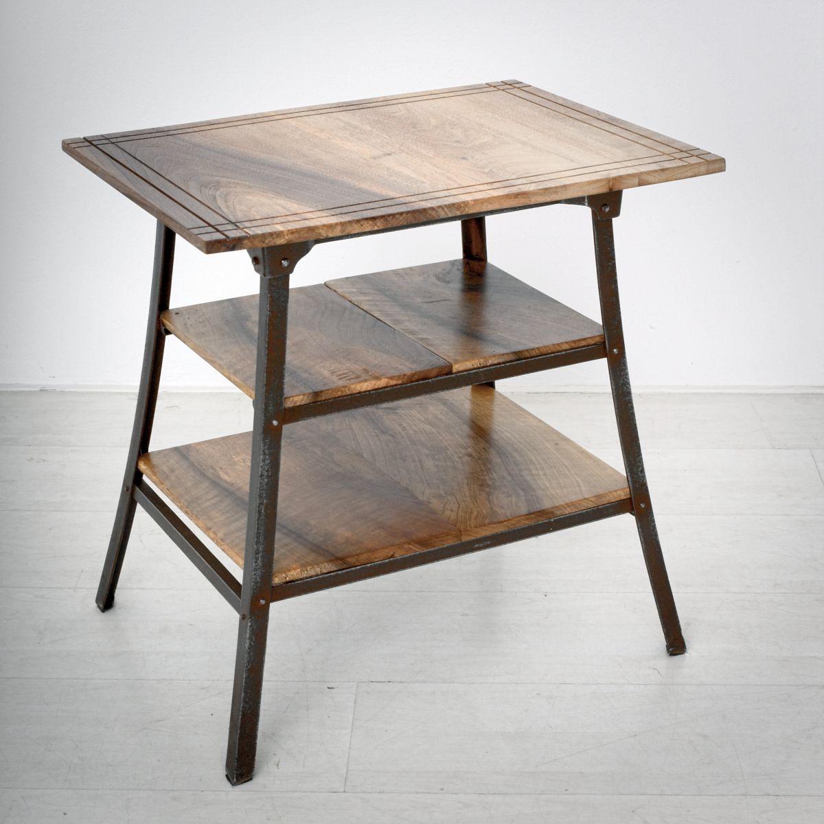 beistelltisch aus nussholz eisen 1930er bei pamono kaufen. Black Bedroom Furniture Sets. Home Design Ideas
