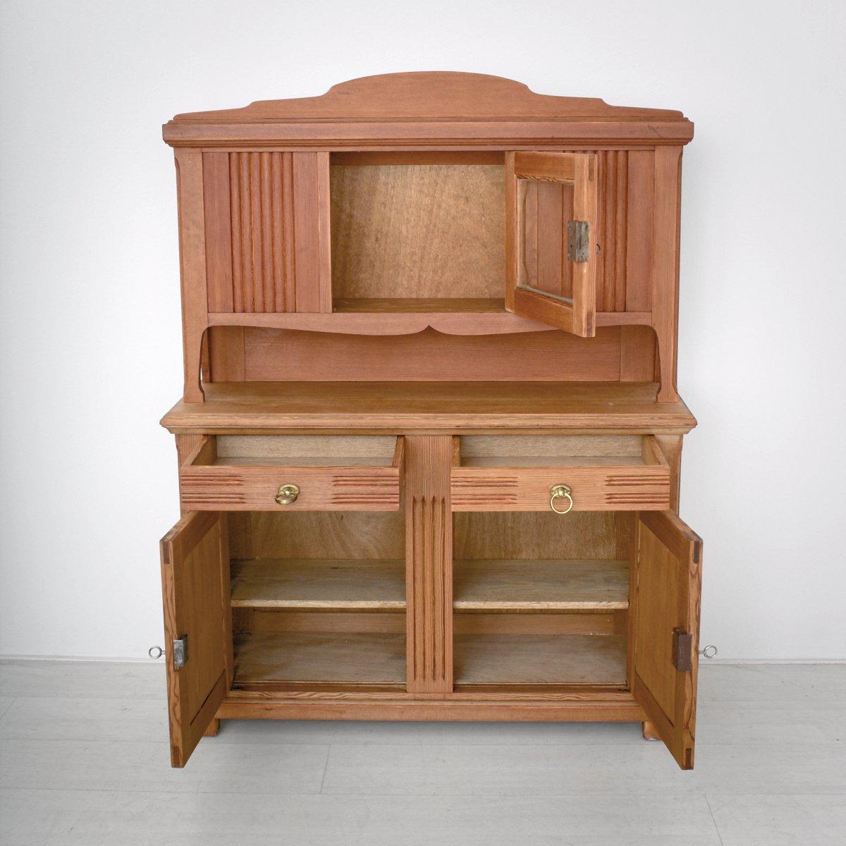 kleiner jugendstil k chenbuffet aus kiefernholz 1920er. Black Bedroom Furniture Sets. Home Design Ideas