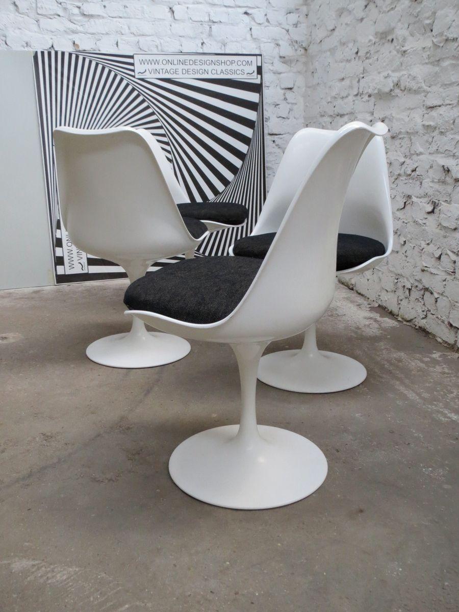 Non-Swivel Tulip Chairs by Eero Saarinen for Knoll International, 1980s, Set ...