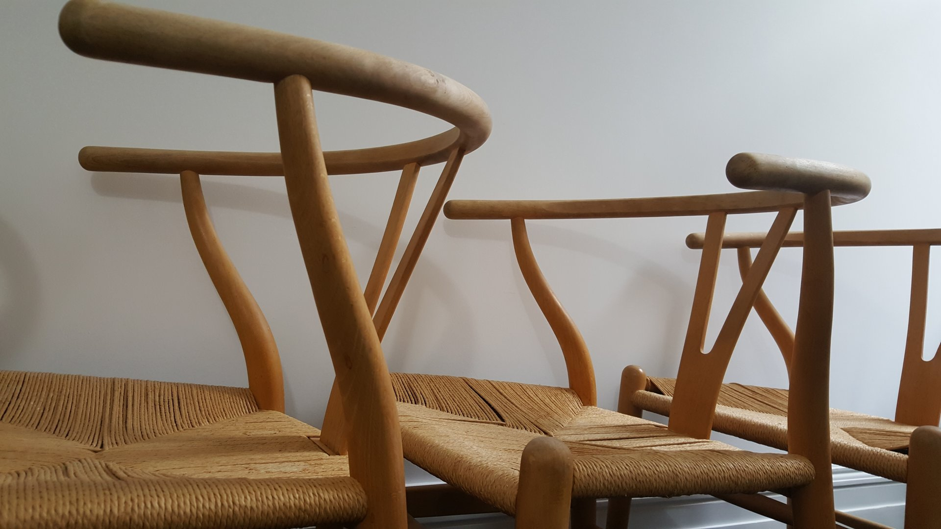 Mid Century Danish CH24 Wishbone Chairs by Hans J Wegner for Carl