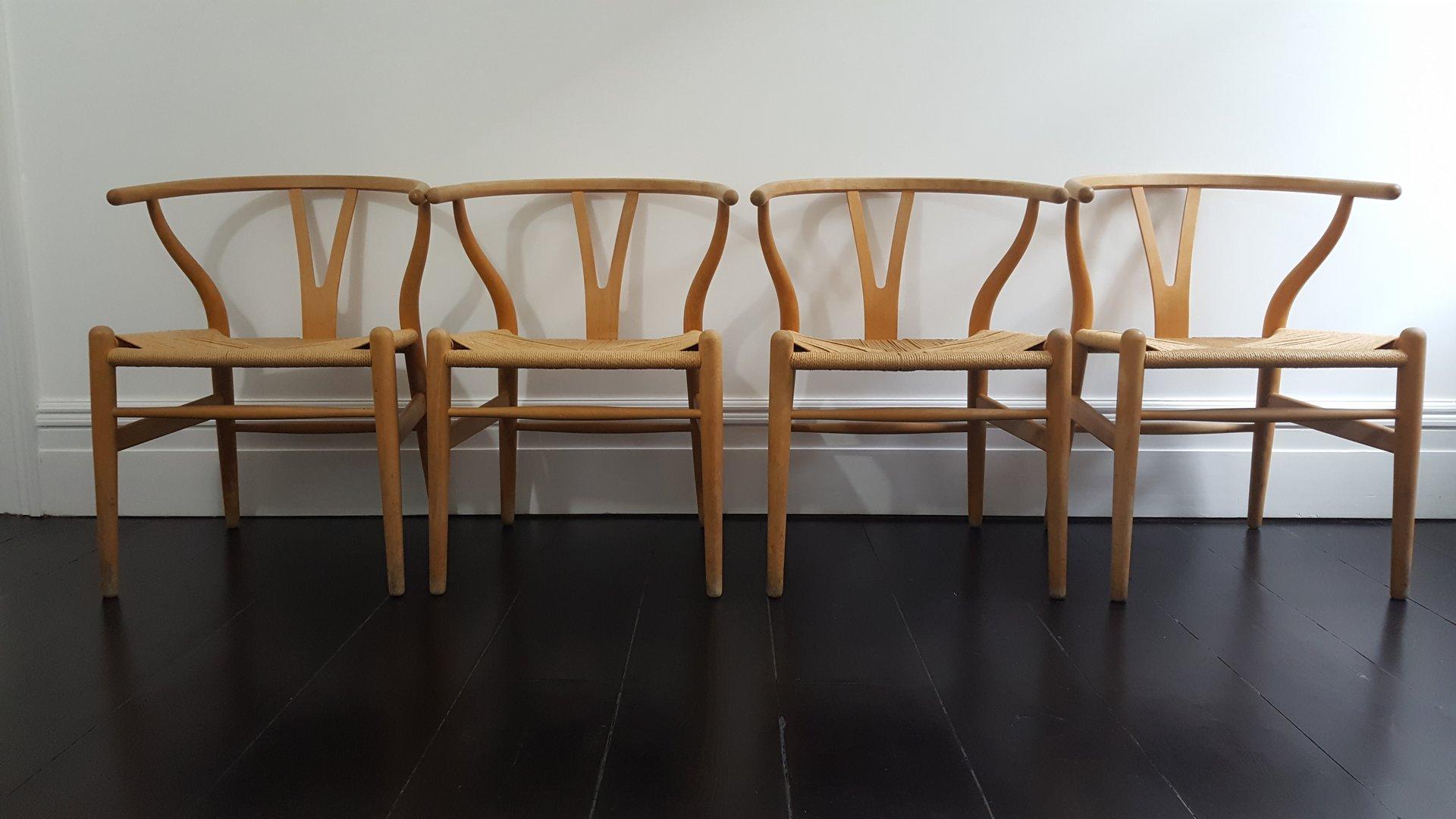 MidCentury Danish CH24 Wishbone Chairs by Hans J Wegner for Carl