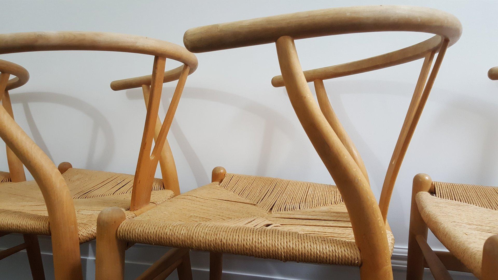 Mid Century Danish CH24 Wishbone Chairs by Hans J Wegner for Carl