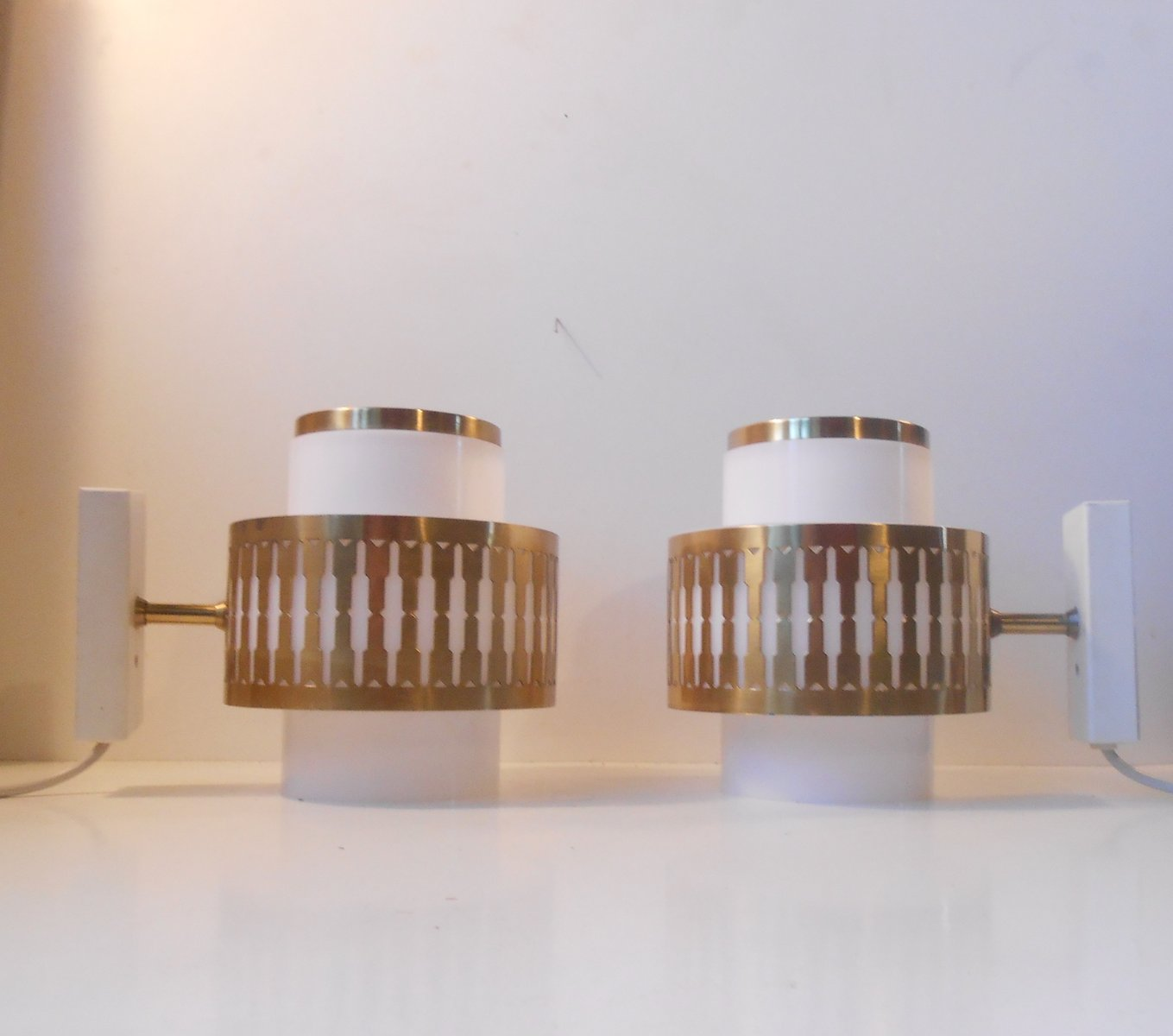 Vintage Danish Wall Lights : Vintage Danish Acrylic & Brass Wall Lamps by Bent Karlby for Lyfa, Set of 2 for sale at Pamono