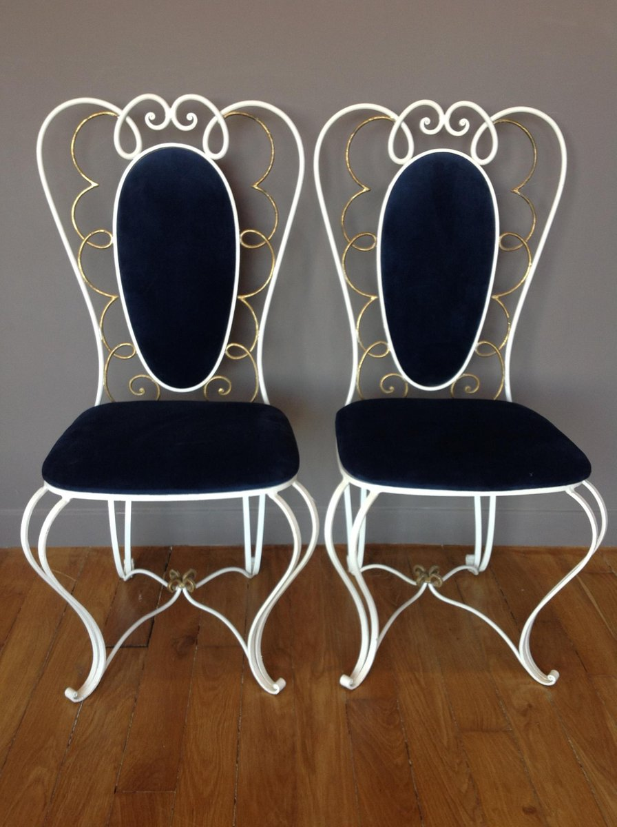Vintage Wrought Iron Chair 1950s Set of 2 for sale at Pamono