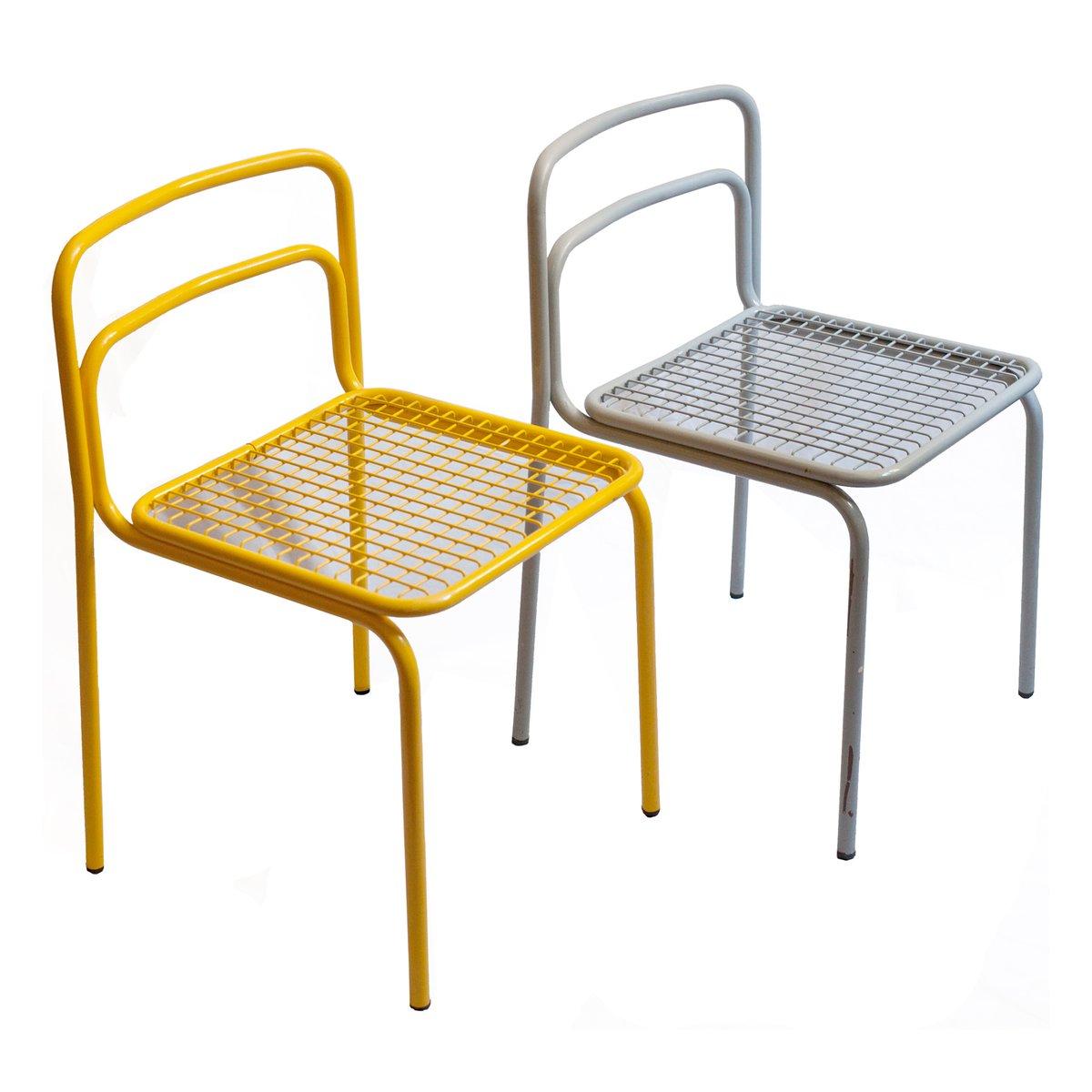 franz sische metall st hle 1980er 4er set bei pamono kaufen. Black Bedroom Furniture Sets. Home Design Ideas