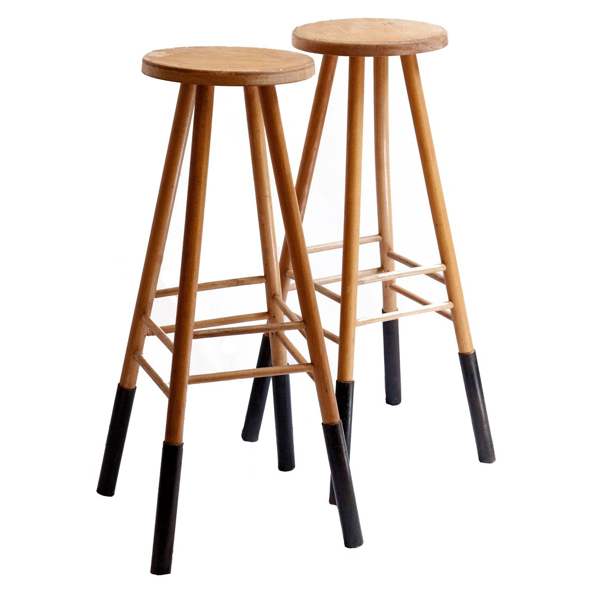 french wood metal tall side tables 1950s set of 2 for. Black Bedroom Furniture Sets. Home Design Ideas