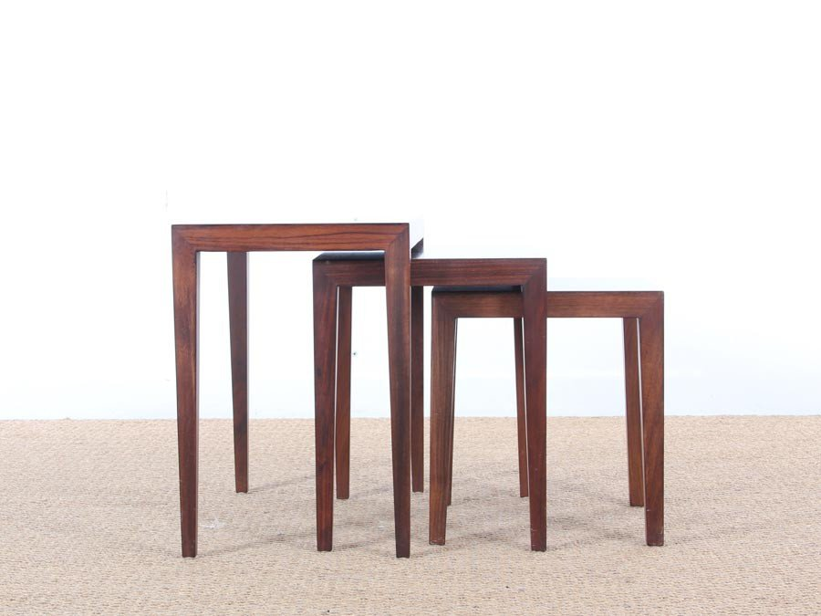 midcentury modern nesting tables in mahogany by severin hansen for haslev a
