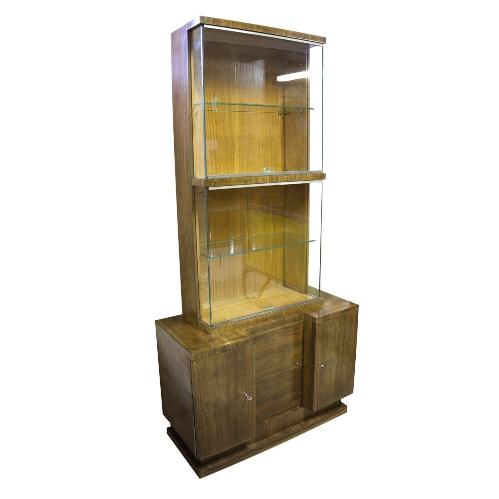 Czech Walnut Veneer Display Cabinet By Vlastimil Brožek