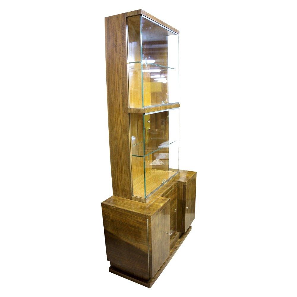 Czech Walnut Veneer Display Cabinet By Vlastimil Brožek