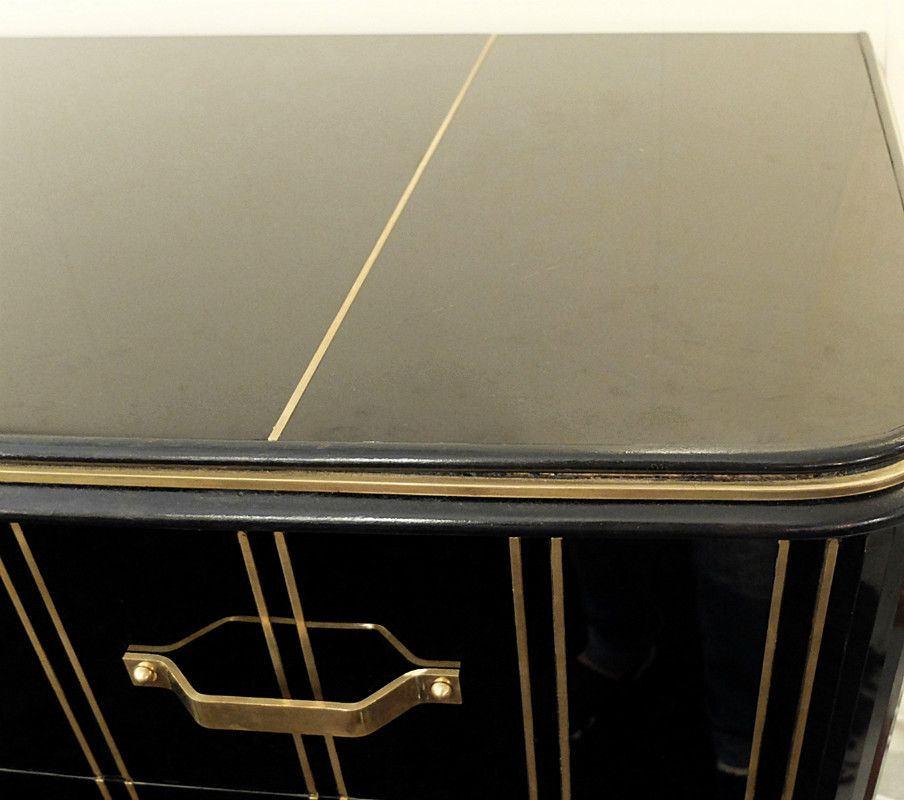 Vintage Black Glass Amp Brass Chest Of Drawers For Sale At