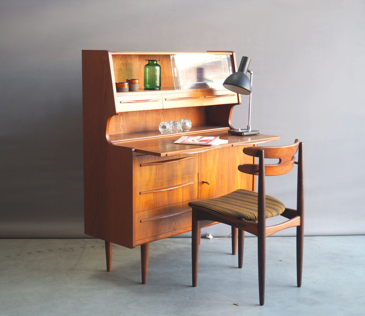 danish teak secretaire with glass showcase 1960s for sale. Black Bedroom Furniture Sets. Home Design Ideas