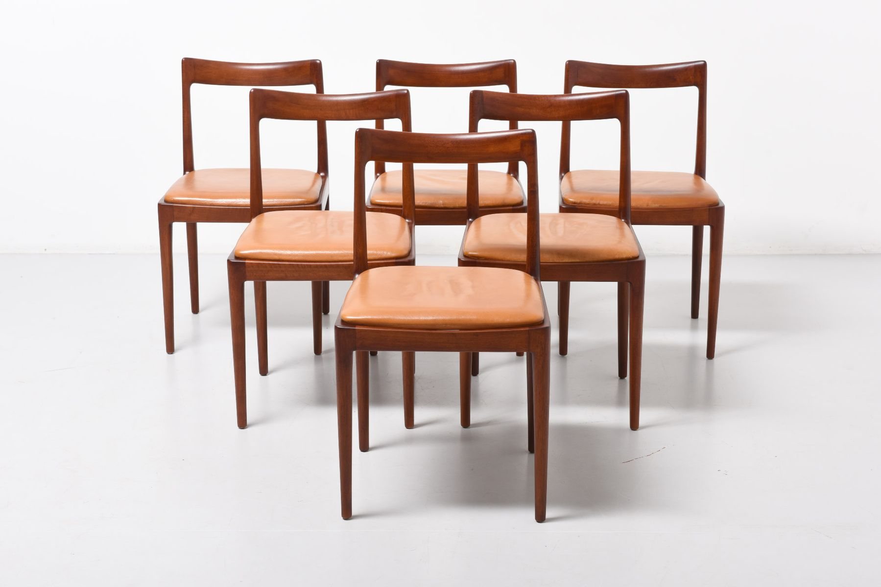 Mid Century German Walnut Dining Chairs from Lübke 1960s Set of