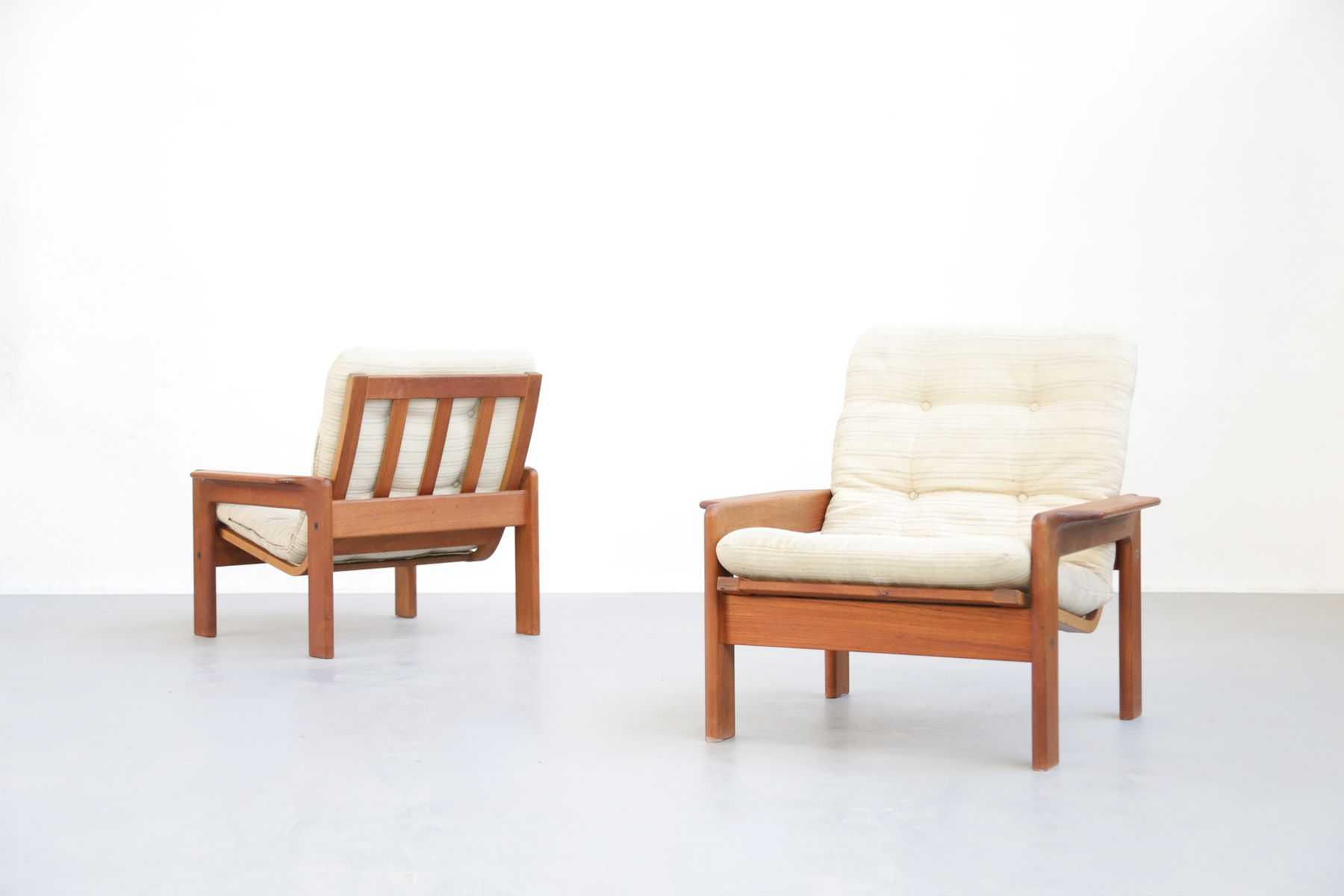 Mid Century Scandinavian Teak Lounge Chairs 1960s Set of 2 for sale at Pamono