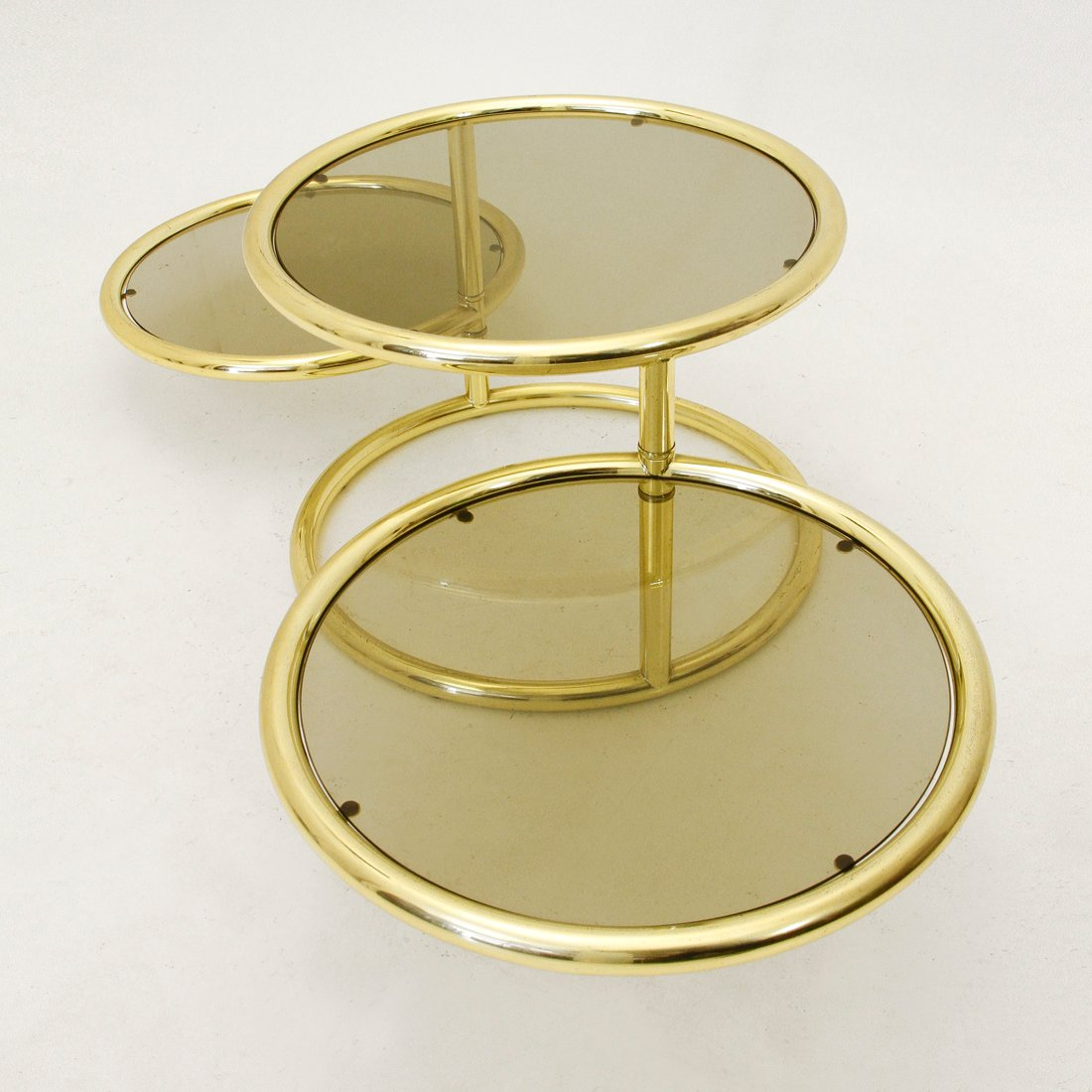 Italian Round Brass & Glass Coffee Table, 1950s For Sale