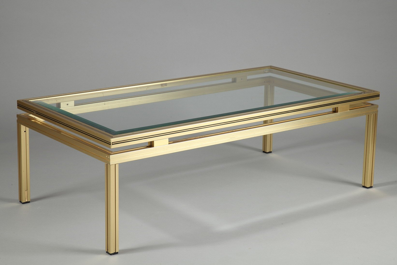 Rectangular Coffee Table In Brass Plated Aluminum By Pierre Vandel For Sale At Pamono