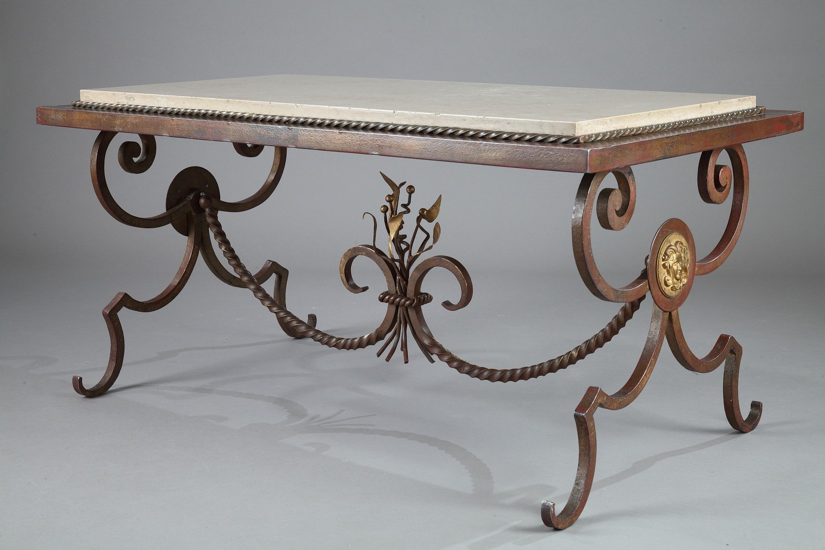 Gilded wrought iron marble coffee table 1950s for sale for Marble and wrought iron coffee table