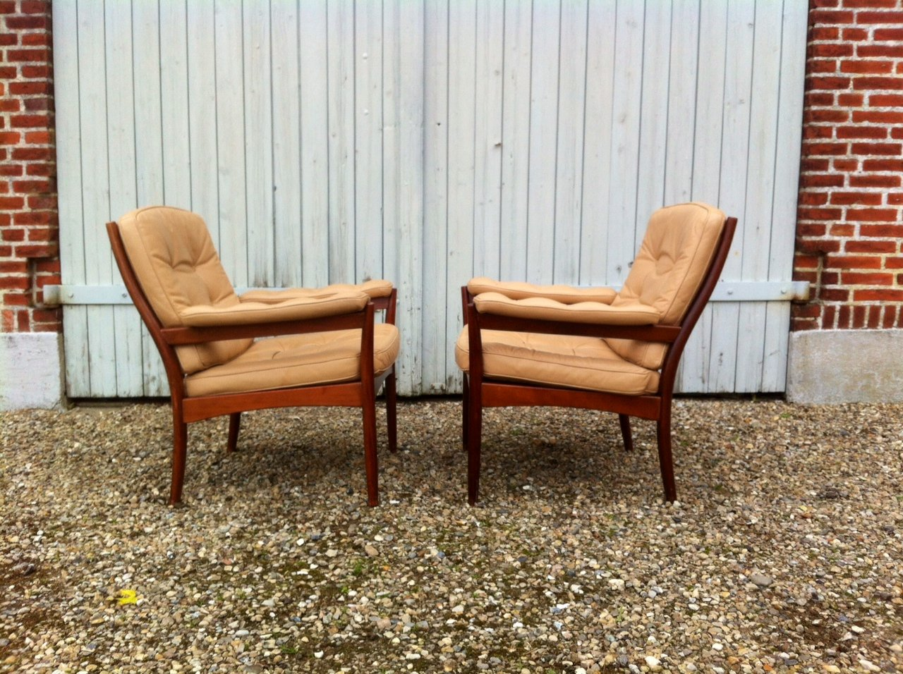 Mid Century Leather Lounge Chairs From G M Bel Sweden