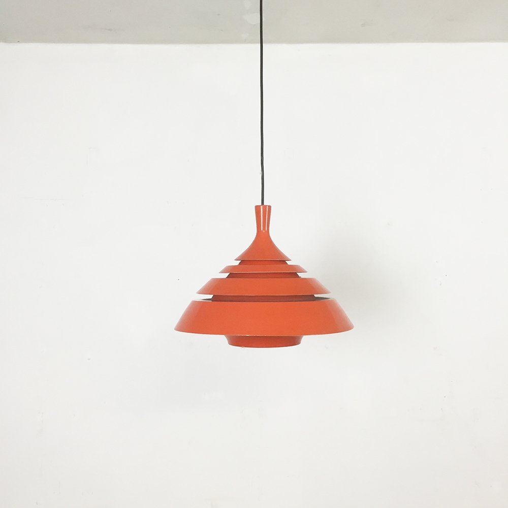 Orange hanging lamp - Modernist Scandinavian Orange Hanging Lamp 1960s