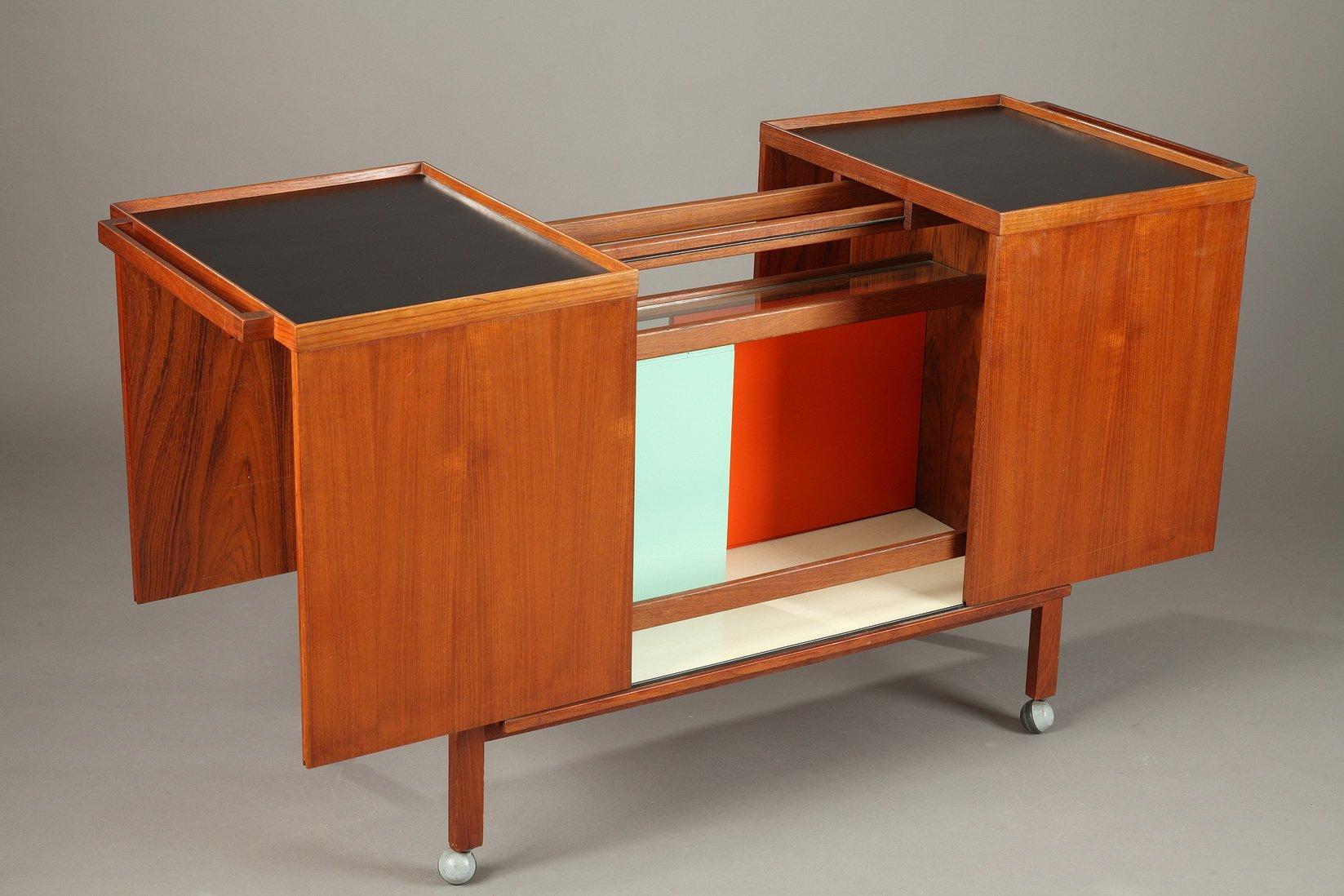 Danish Modern Bar Cart Veneered In Teak By Niels Erik