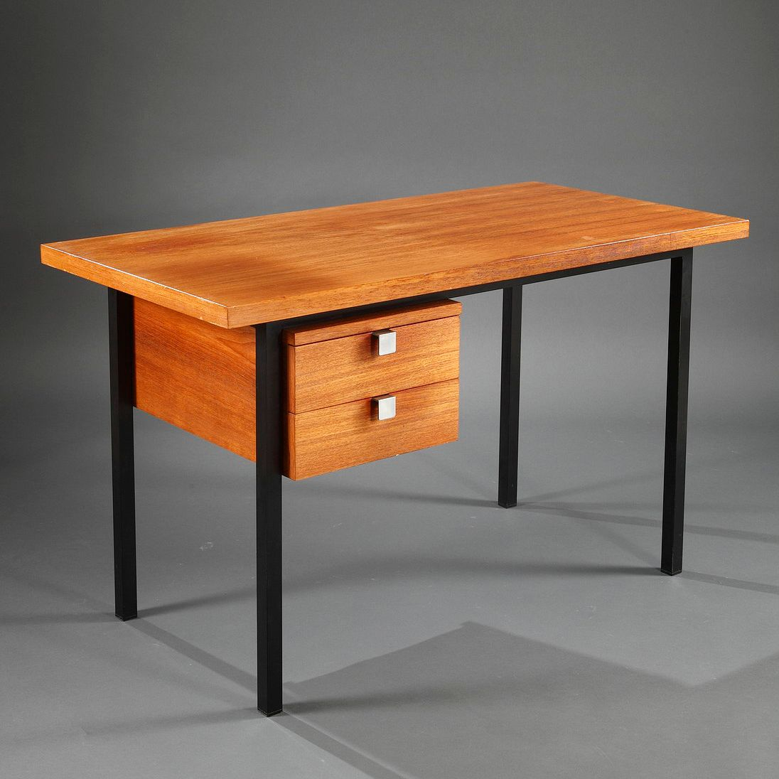 Scandinavian Desk mid-century scandinavian black metal & teak desk for sale at pamono