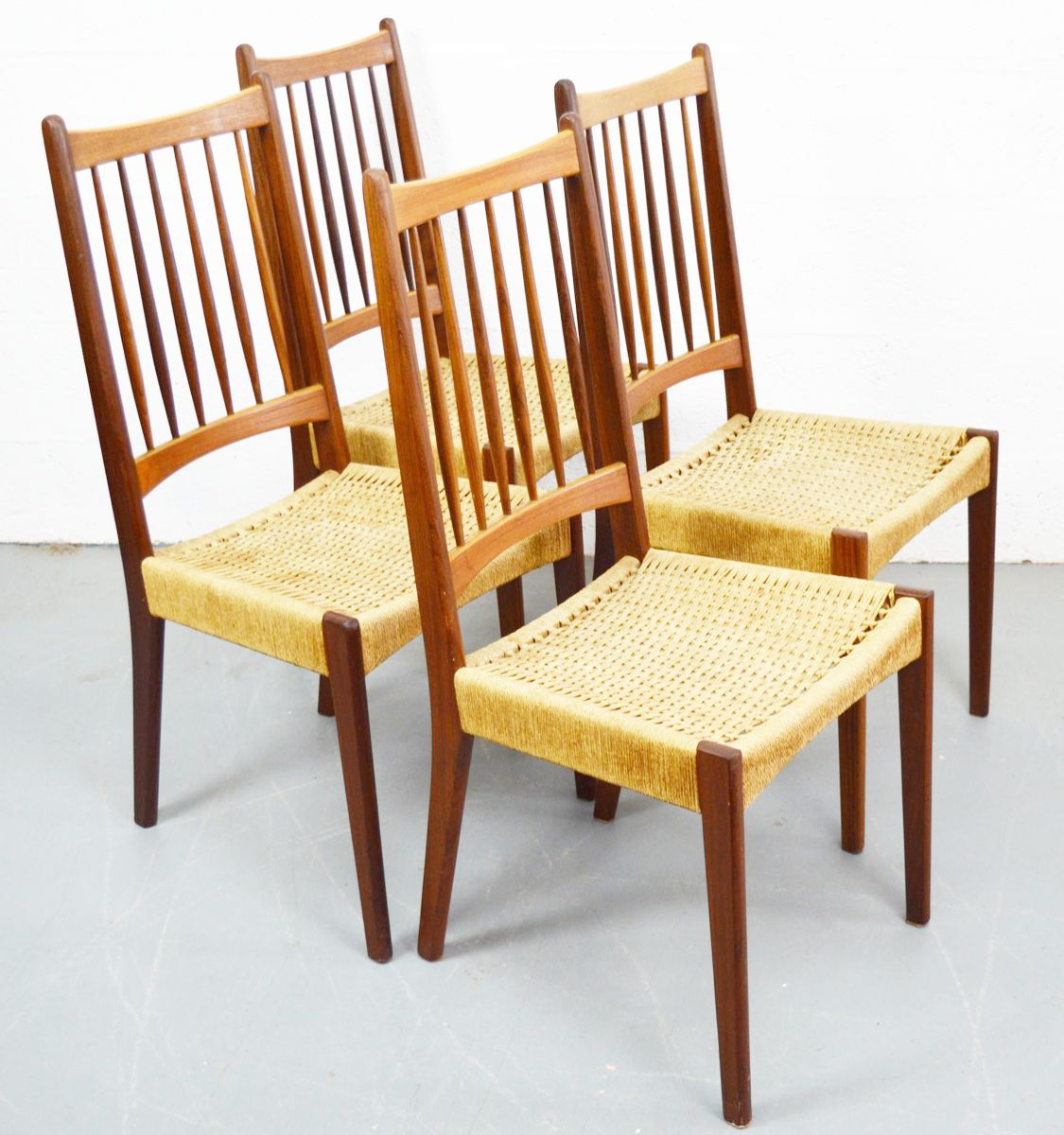 mid century danish chairs with danish teak and cord 1960s set of 4