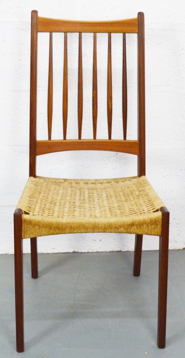 Mid Century Danish Chairs With Danish Teak And Cord 1960s Set Of 4 For Sale
