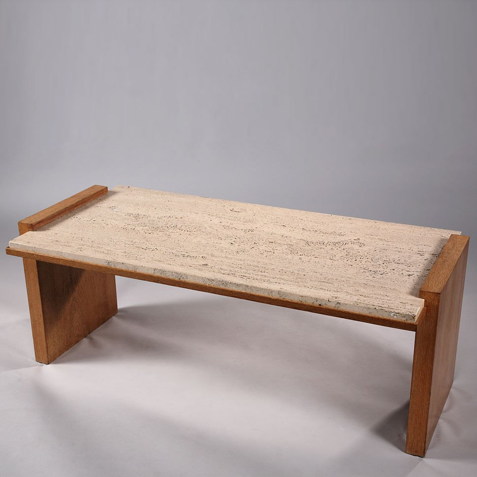 Rectangular Travertine U0026 Oak Art Deco Coffee Table By Jacques Adnet, 1930