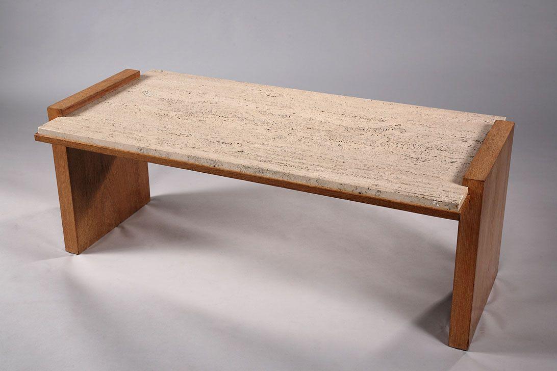 rechteckiger travertin eiche art deco couchtisch von jacques adnet 1930 bei pamono kaufen. Black Bedroom Furniture Sets. Home Design Ideas