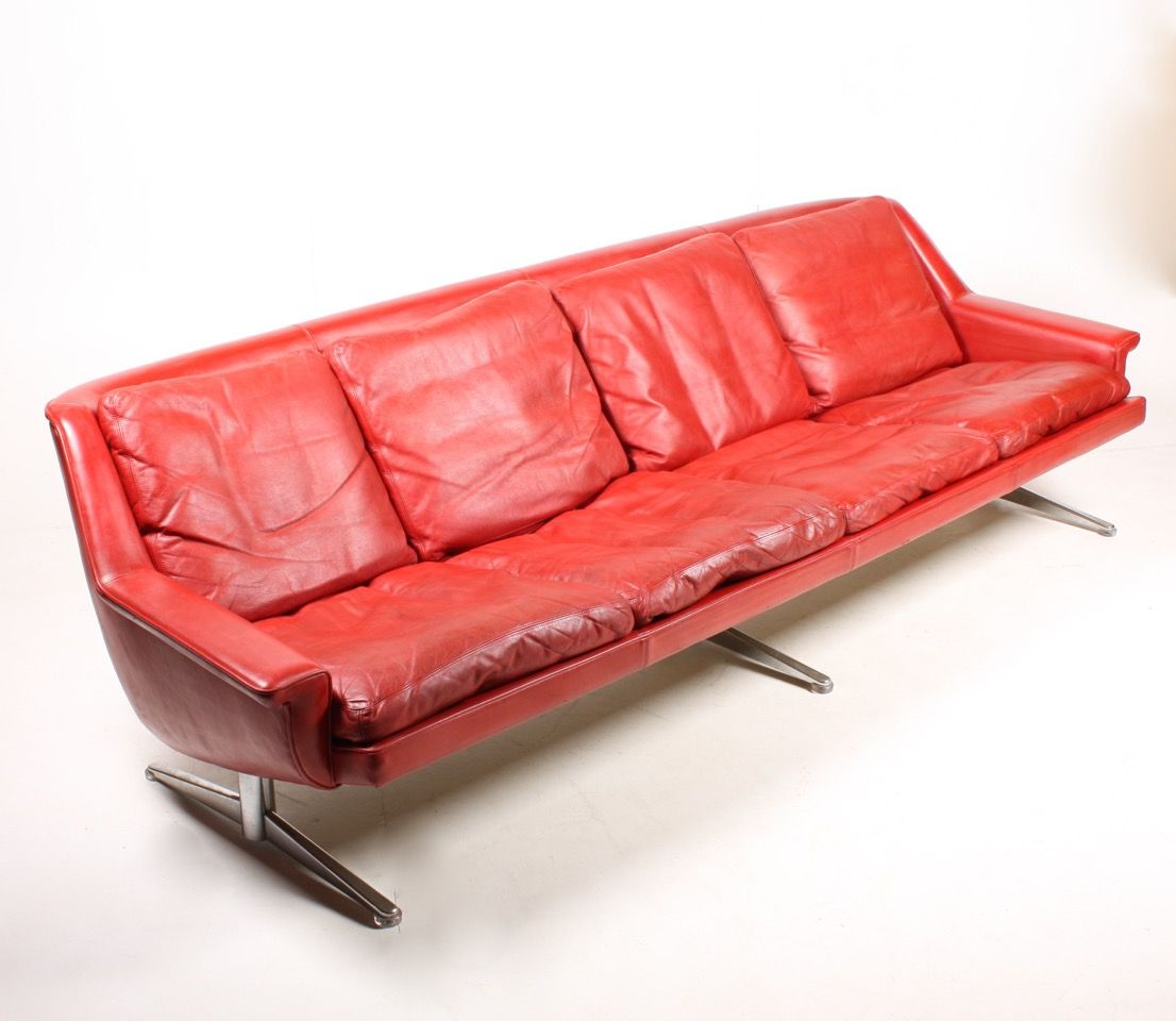danish red leather sofa from esa 1970s for sale at pamono 19