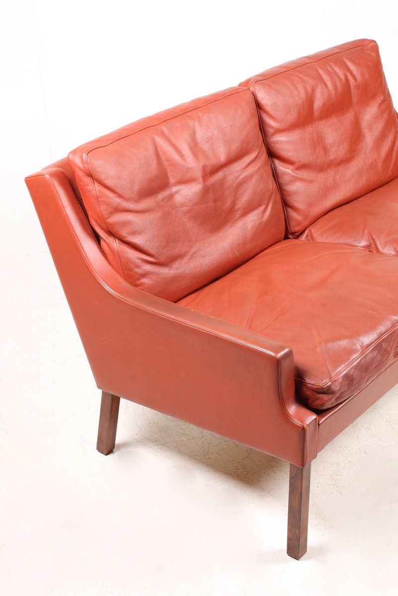 Danish Red Leather Sofa By Rud Thygesen For Tharms 1970s For Sale At Pamono