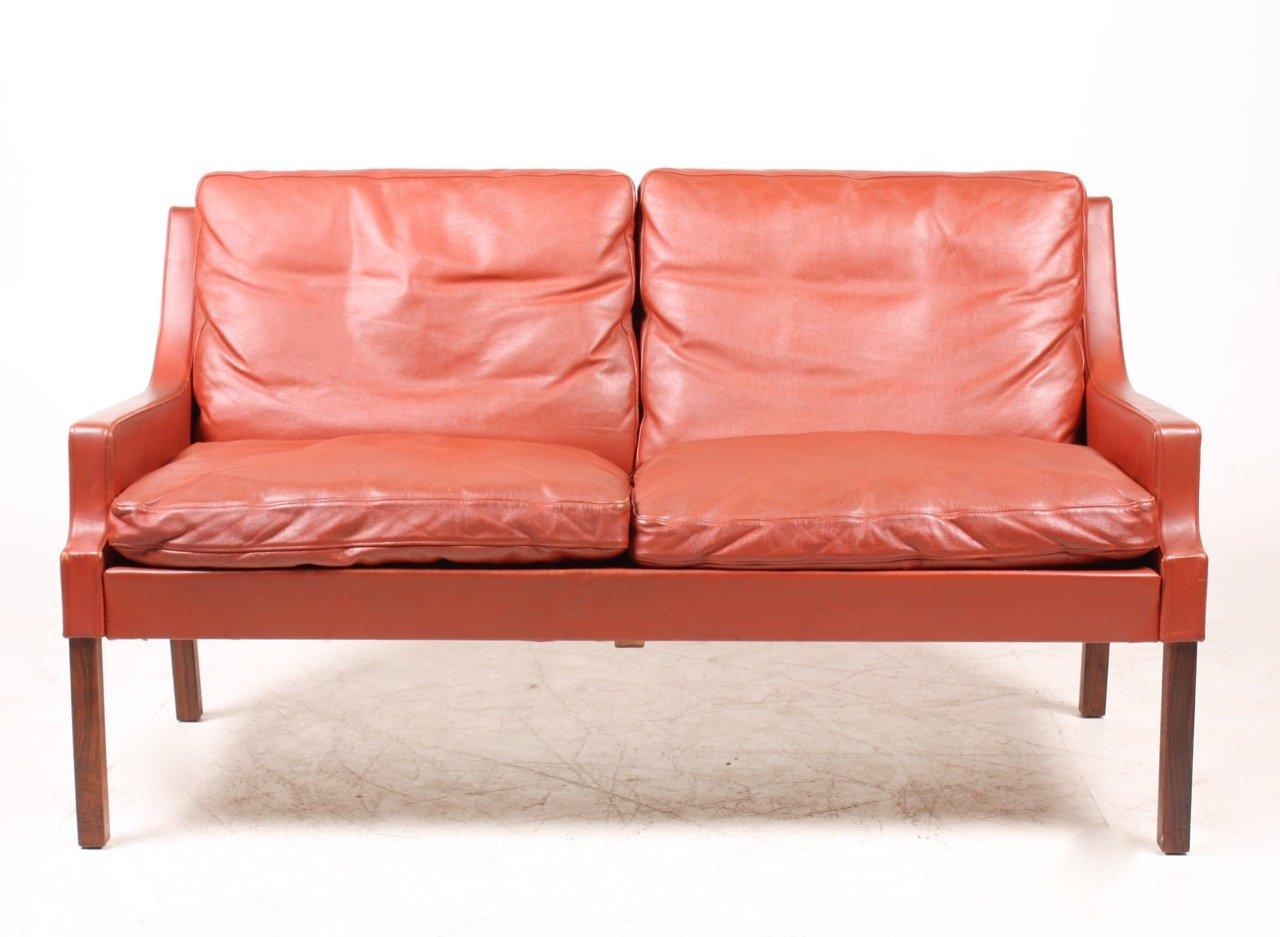 rotes d nisches ledersofa von rud thygesen f r tharms. Black Bedroom Furniture Sets. Home Design Ideas