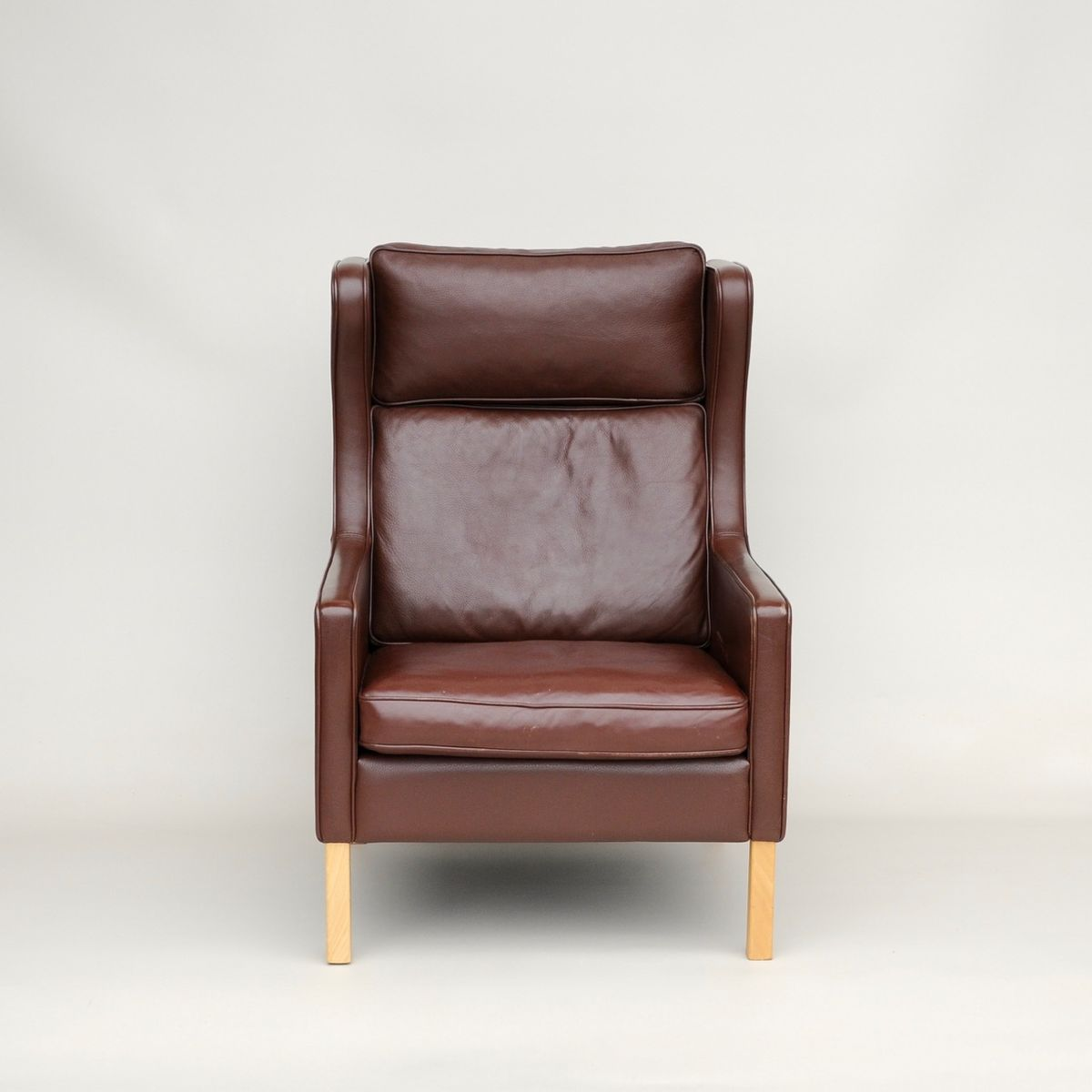 vintage danish leather wing armchair from stouby for sale