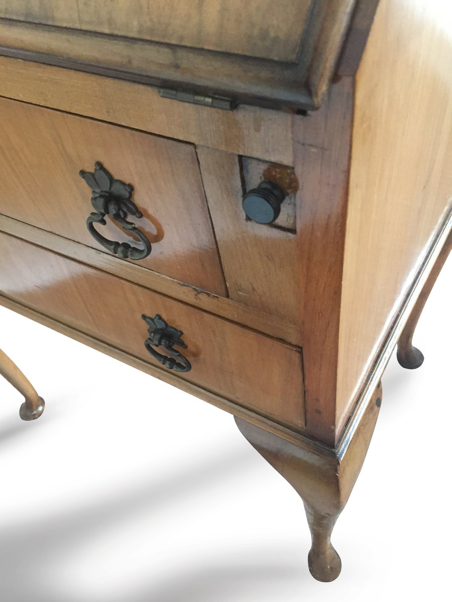 Vintage British Light Oak Leather Lined Writing Bureau Desk