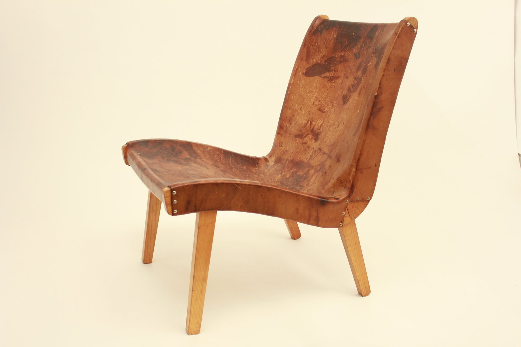 czech leather lounge chair by jens risom for knoll  for sale  - czech leather lounge chair by jens risom for knoll