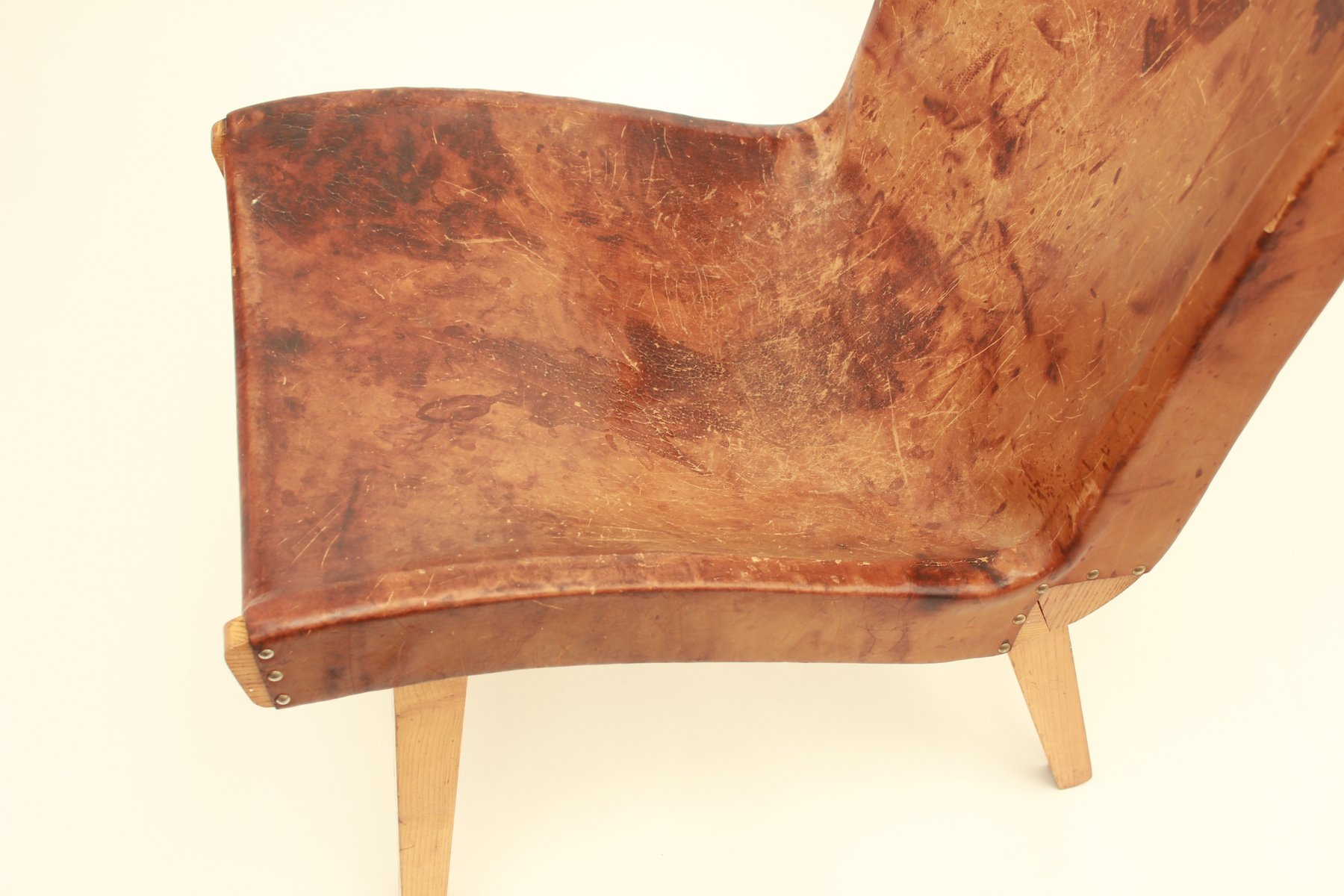 Jens Risom Side Chair Czech Leather Lounge Chair By Jens Risom For Knoll 1953 For Sale