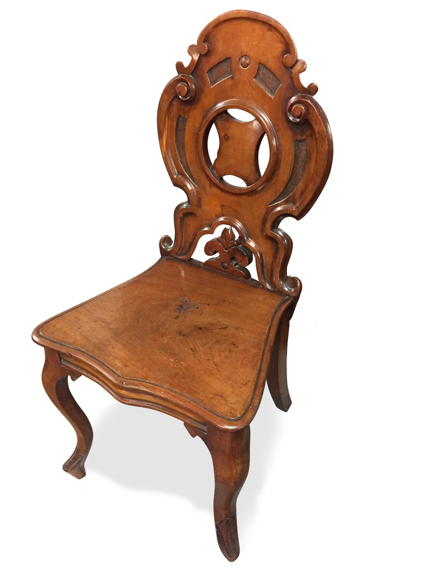 Antique English Victorian Mahogany Carved Hall Chair - Antique English Victorian Mahogany Carved Hall Chair For Sale At