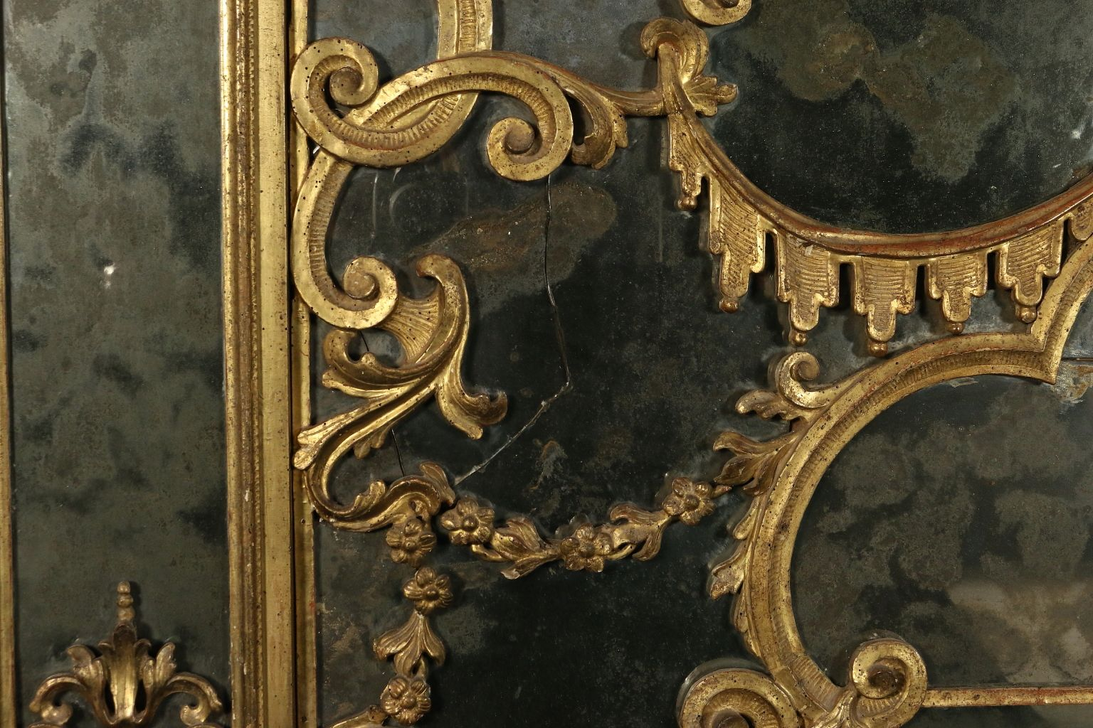 antique baroque linden carved and gilded hearth mirror for