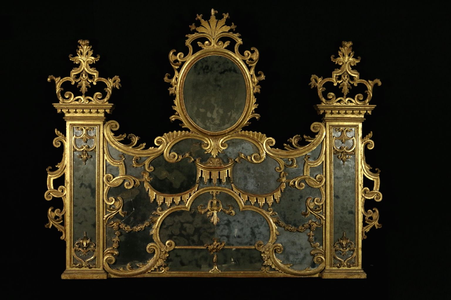 Antique baroque linden carved and gilded hearth mirror for for Gilded baroque mirror