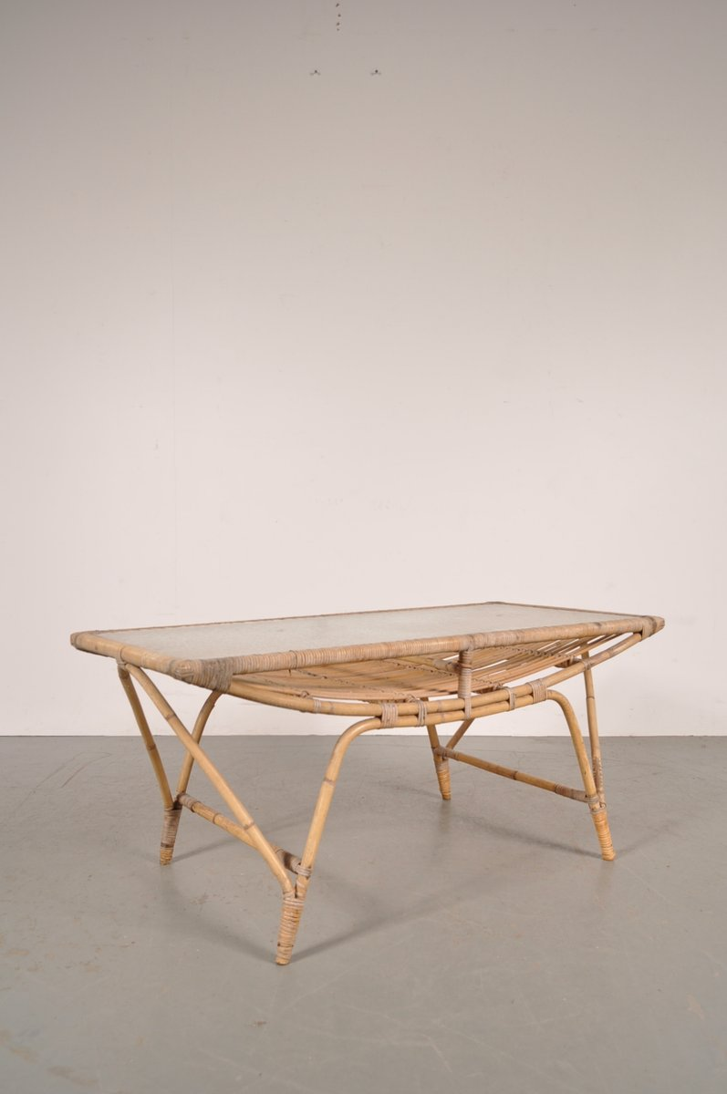 Danish rattan coffee table 1950s for sale at pamono for Rattan coffee table