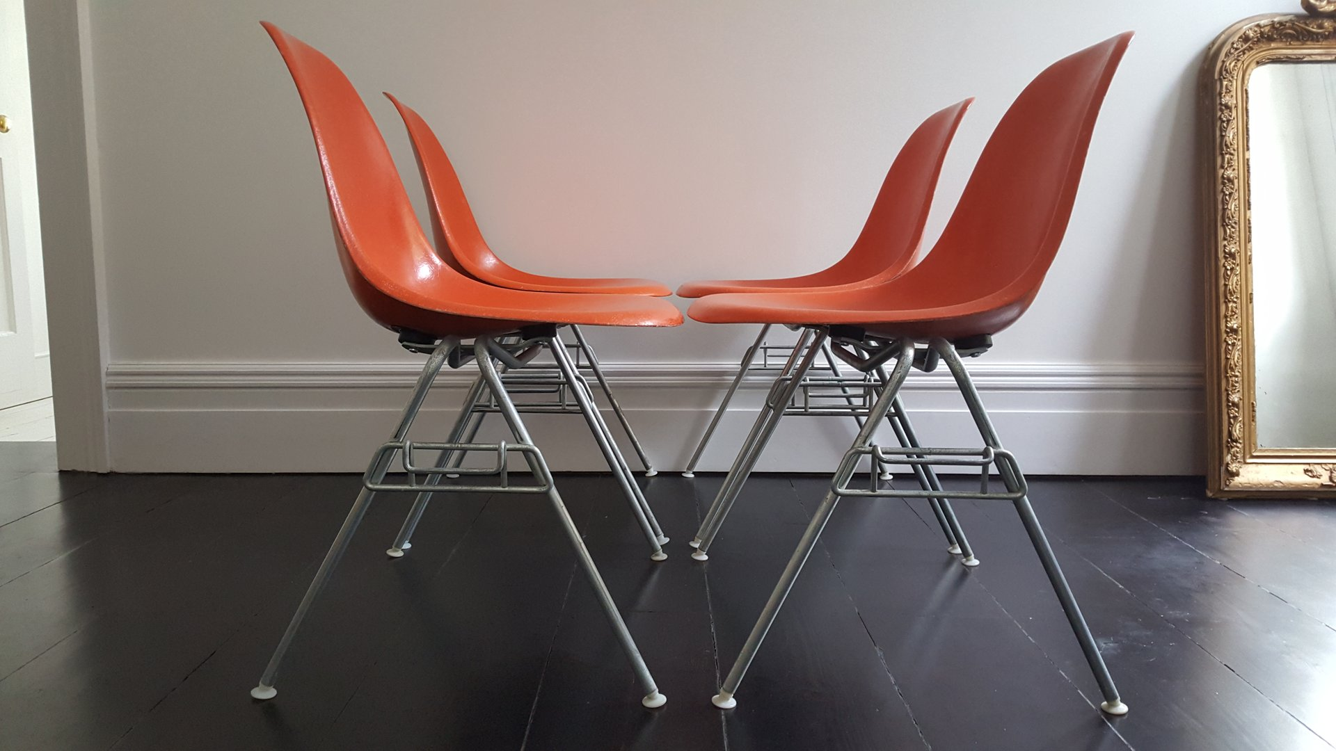 vintage dss fiberglass shell chairs by charles ray eames for herman miller set of 4 for sale. Black Bedroom Furniture Sets. Home Design Ideas