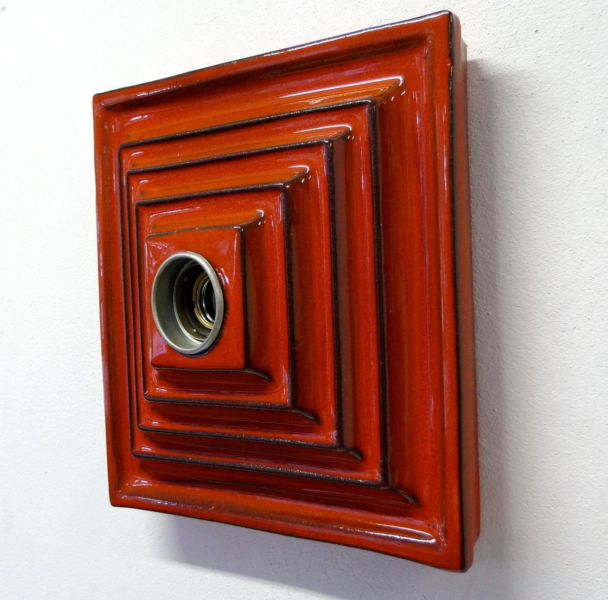 German Red Ceramic Wall Lights, Set of 2 for sale at Pamono