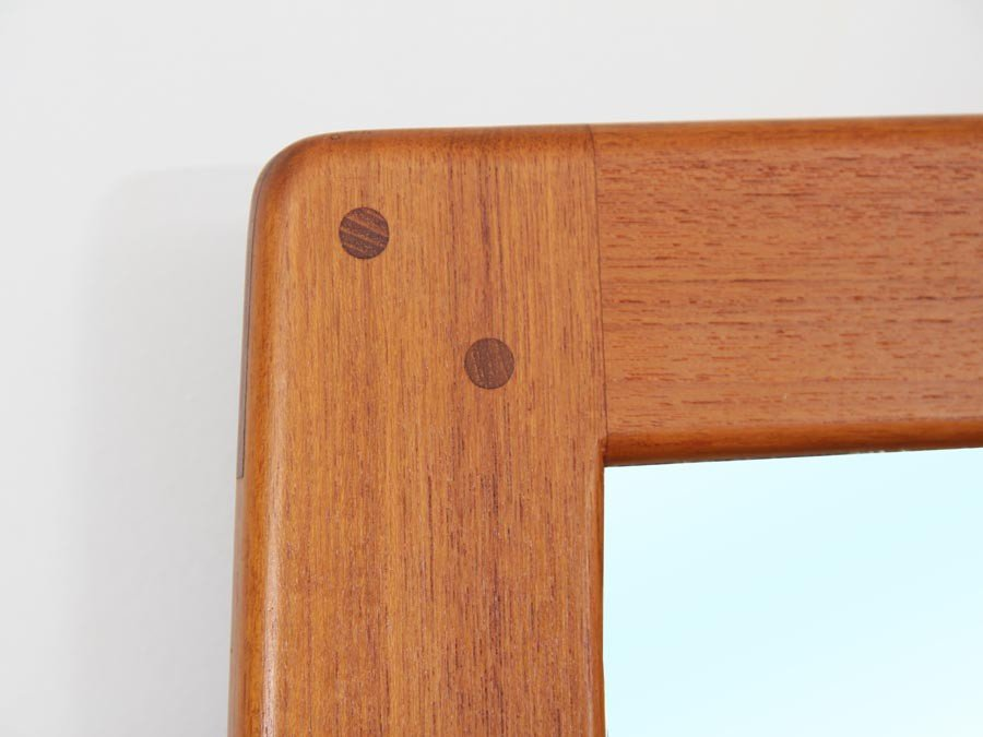 Mid-Century Modern Teak Mirror with Opaline Glass Lamps from AB  Nybrofabriken, Frseke, 1960s