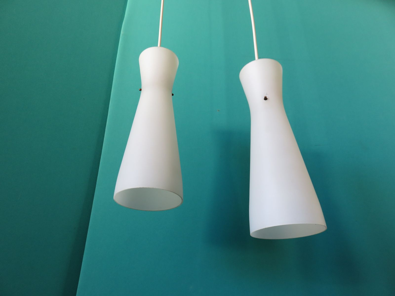 French opaline suspension lamps 1950s set of 2 for sale for Suspension a 3 lampes