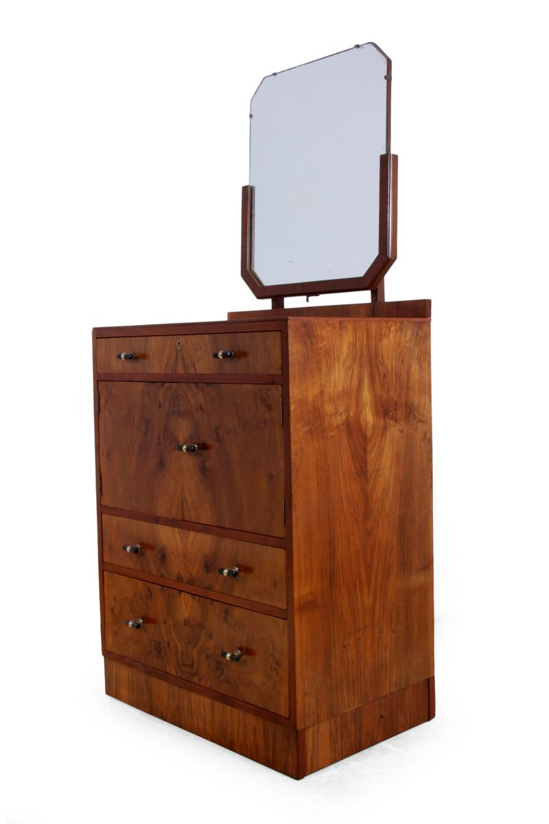 english art deco walnut dressing table for sale at pamono. Black Bedroom Furniture Sets. Home Design Ideas