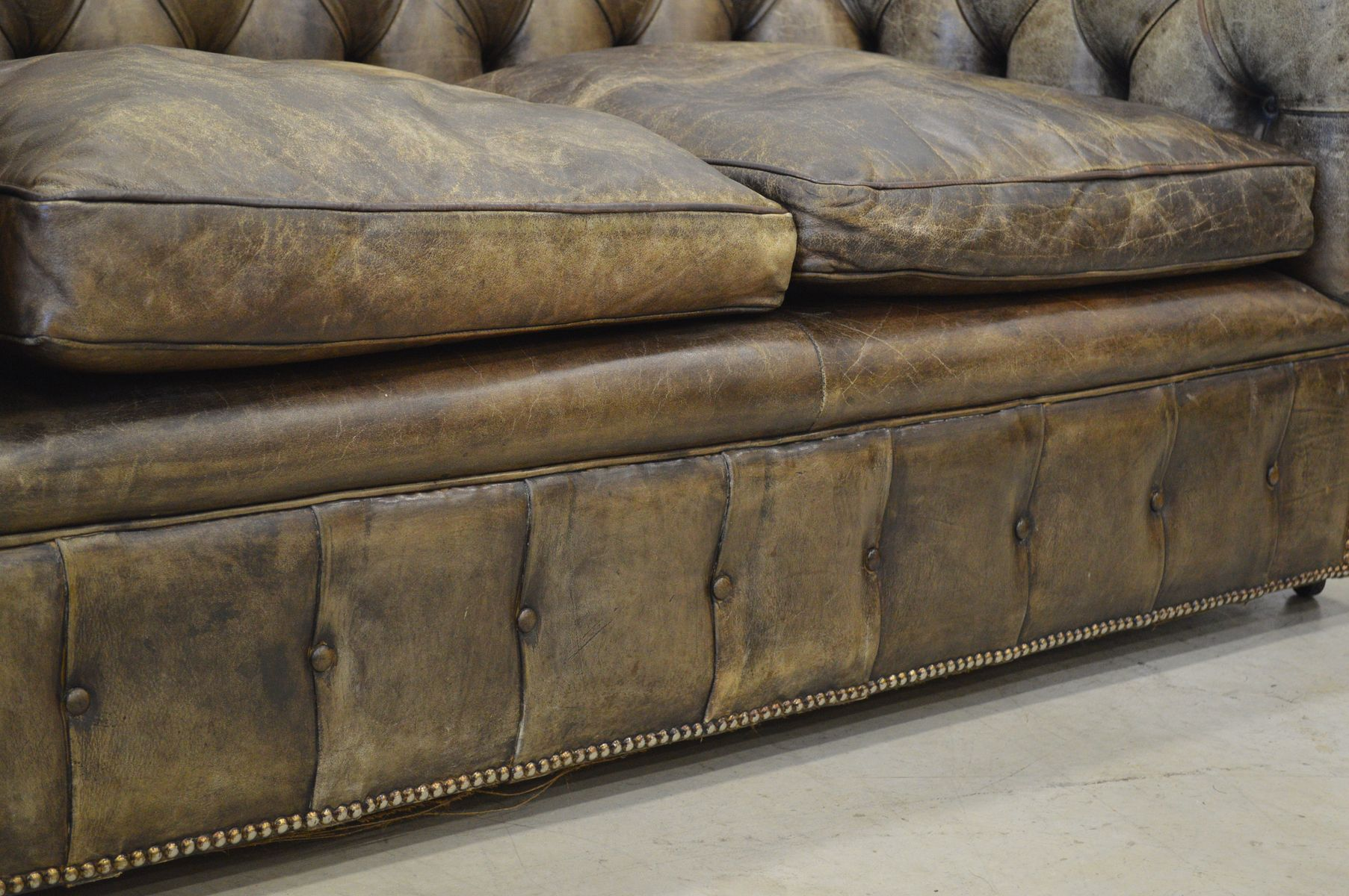 Vintage English Dark Brown Leather Chesterfield Two Seater Sofa