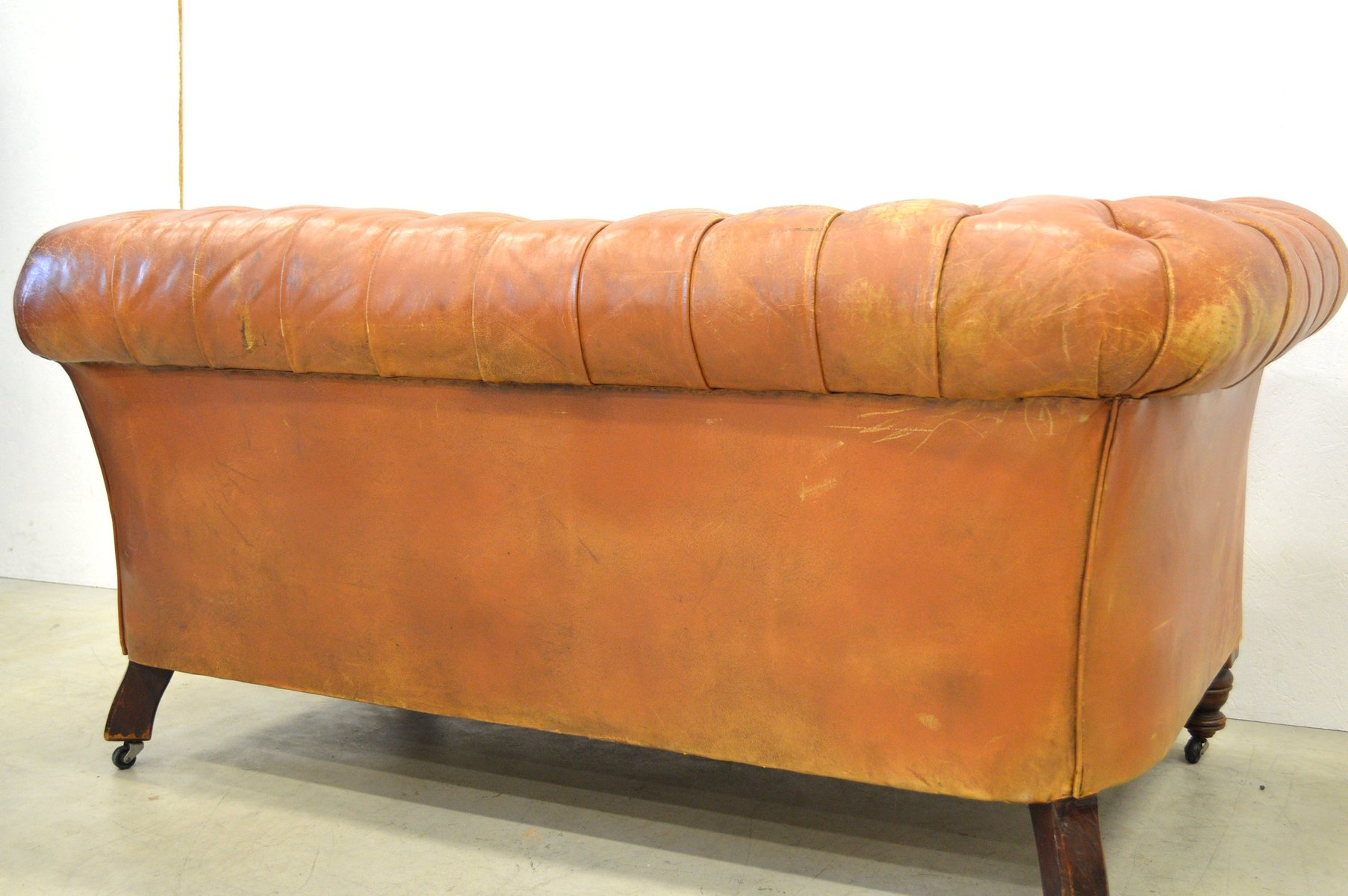 Vintage English Cognac Art Deco Chesterfield Two Seater