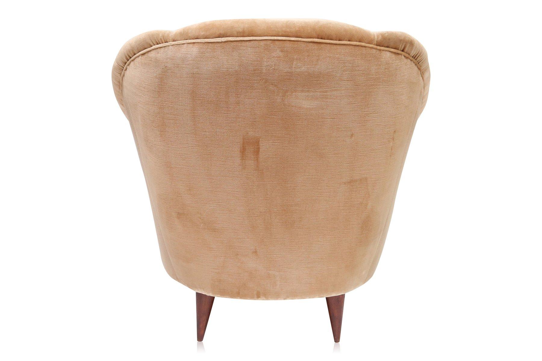 deco light gold velvet club chairs 1940s set of 2